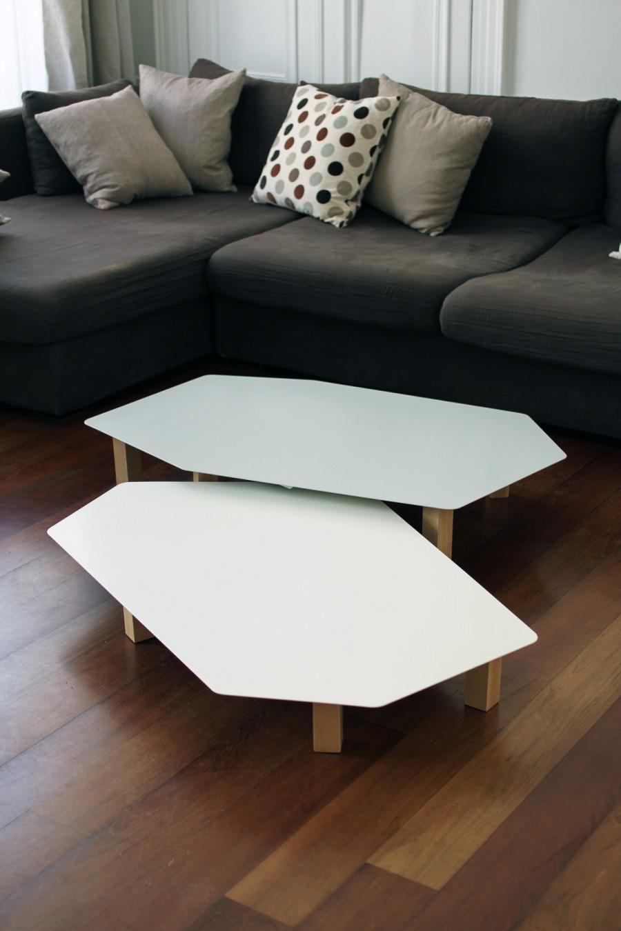 Table basse Kaggebo à double étages - en métal blanc et gris et bois naturel - vue de face - double étages côte à côte