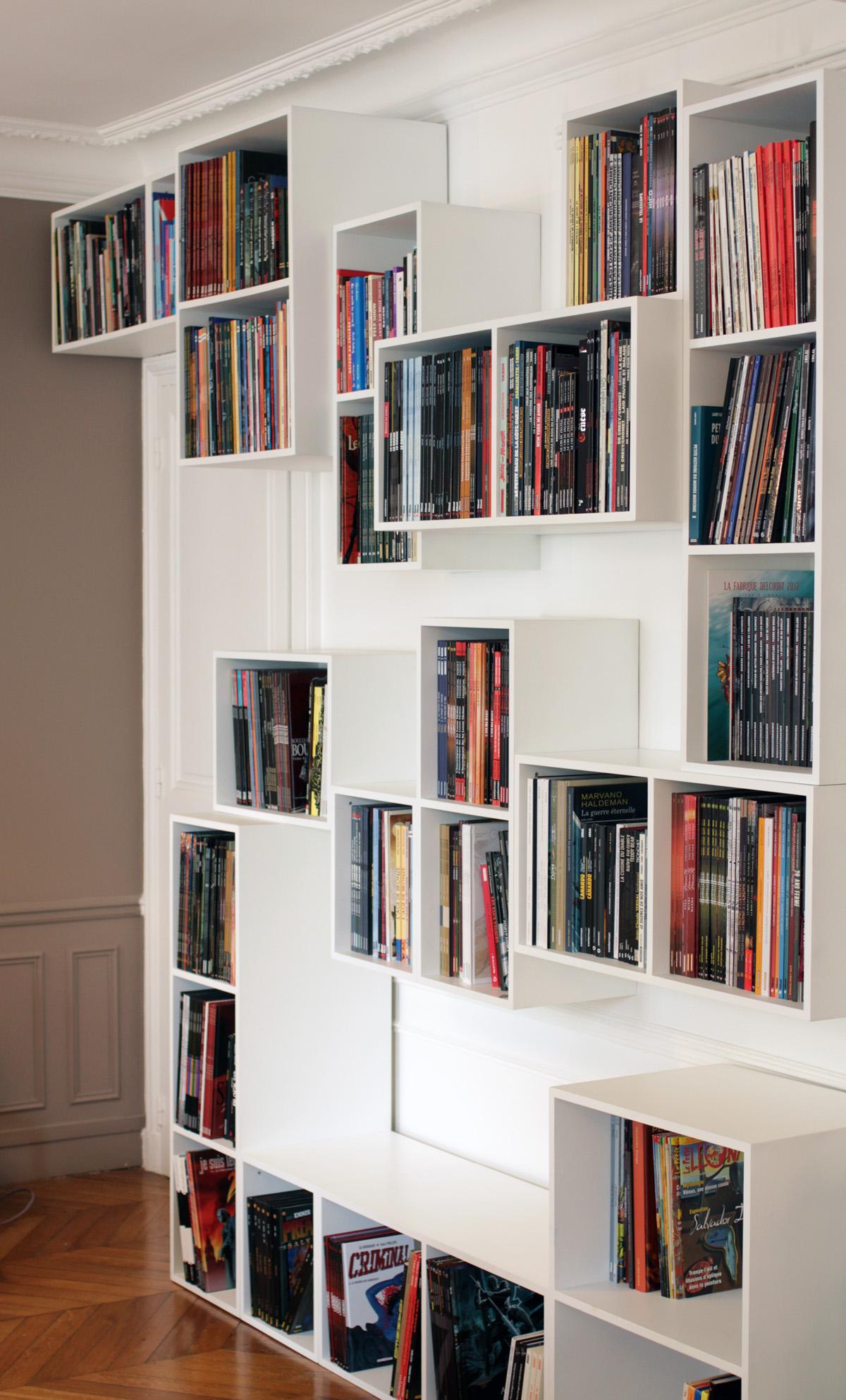 Malo2 bibliothèque Mobilier BD cubes blanc Bandes dessinées design sur-mesure Agence MAJOTIK