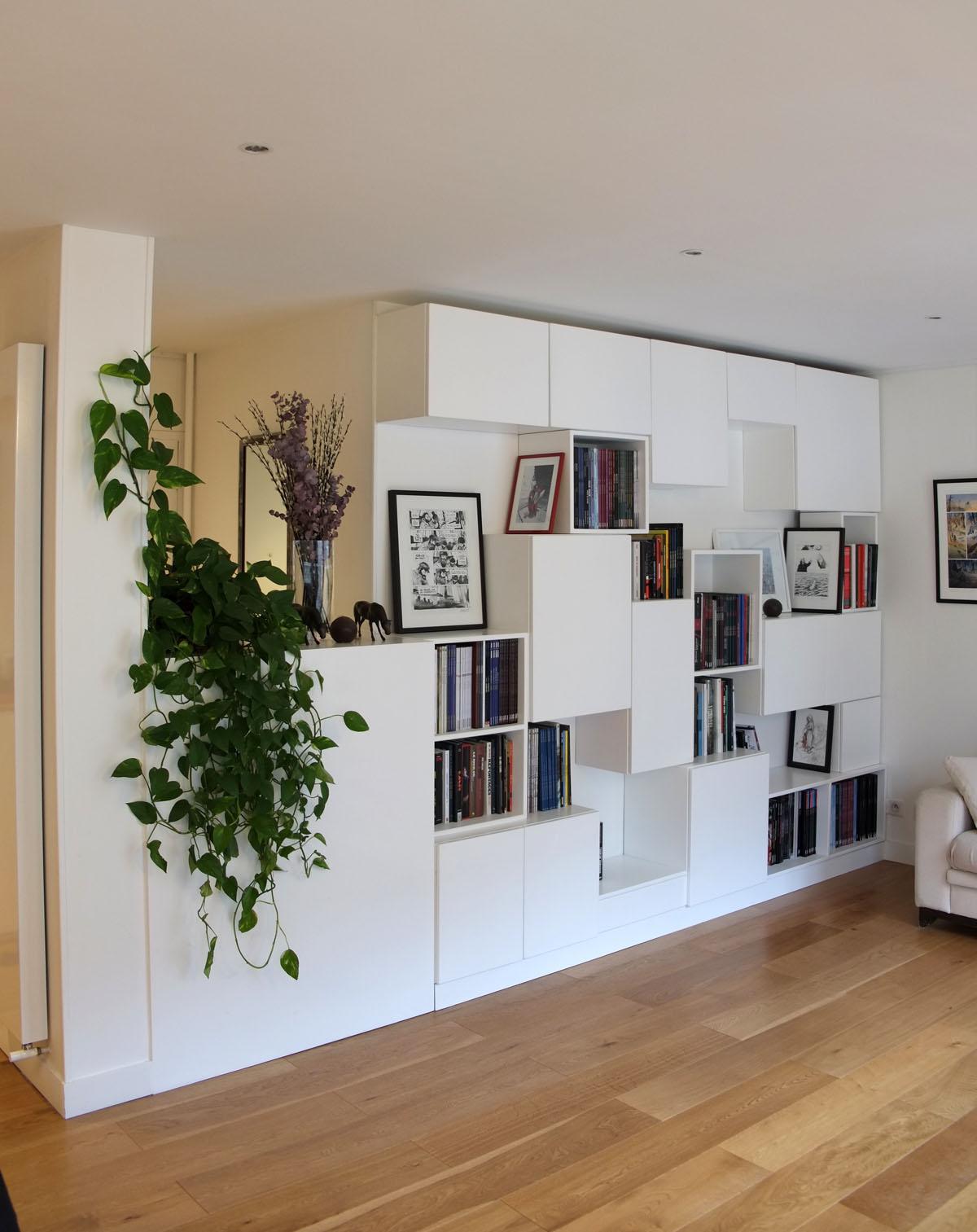 2 bibliotheque Mobilier BD cubes ouverts fermes blanc BD design sur-mesure Agence MAJOTIK
