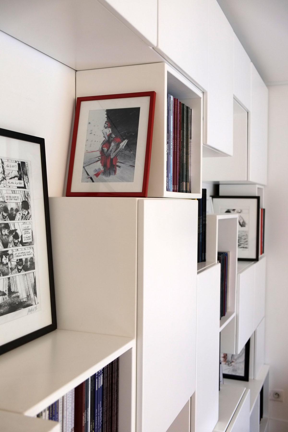 8 bibliotheque Mobilier BD cubes ouverts fermes blanc BD design sur-mesure Agence MAJOTIK