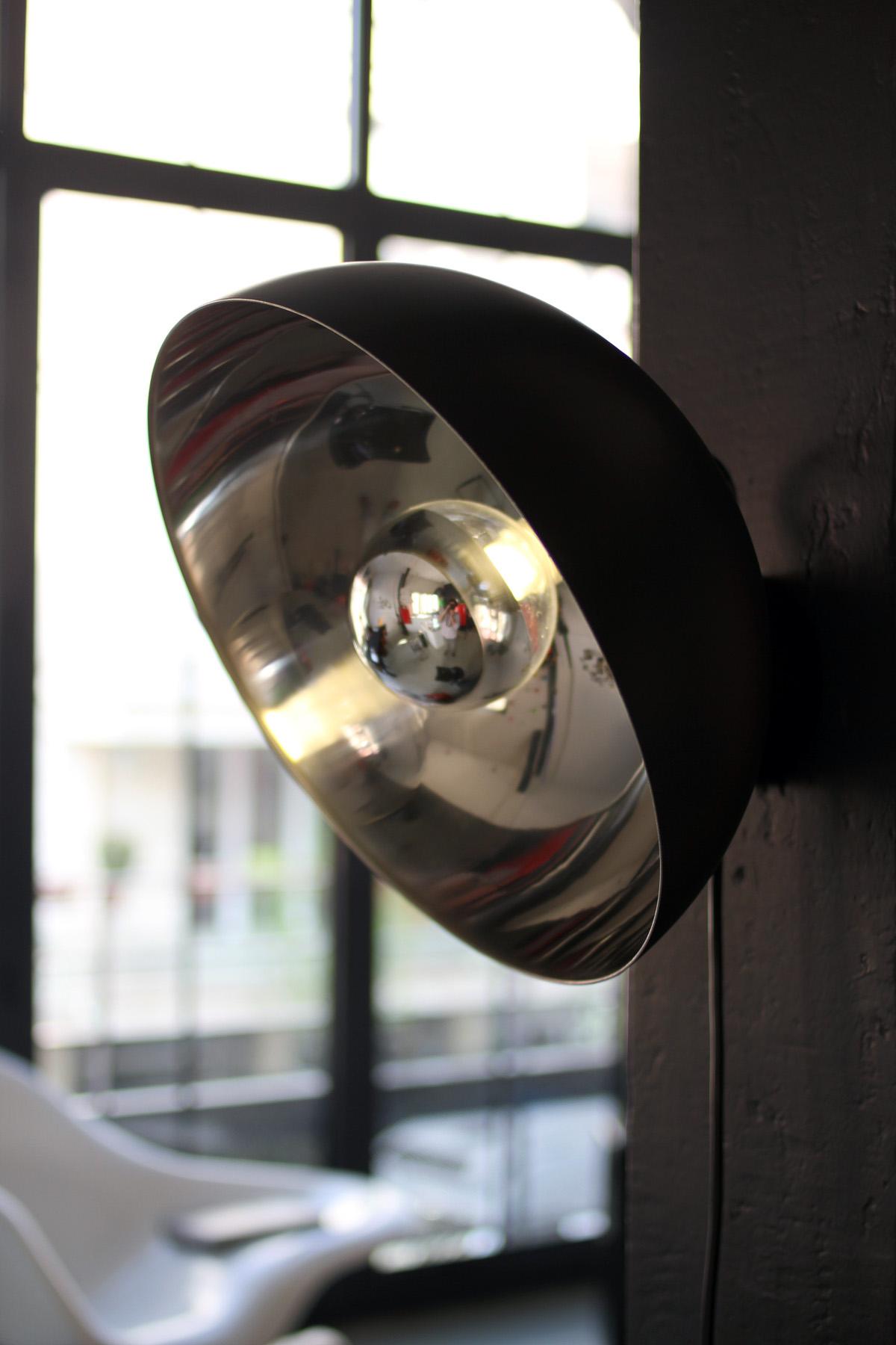 Cul de poule - luminaire - applique - Objet - bol - metal - couleur NOIR - design sur-mesure - Agence MAJOTIK